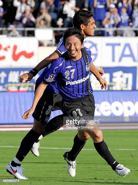 Hideo Hashimoto of Gamba Osaka celebrates scoring his team's second goal during the JLeague match between Gamba Osaka and Omiya Ardija at Expo '70...