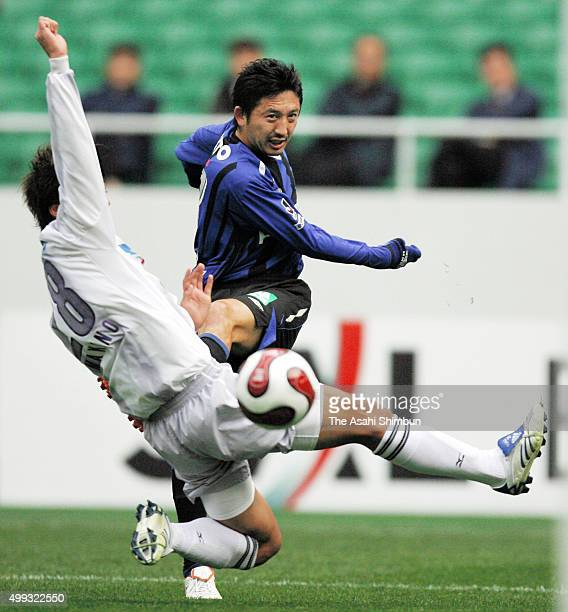 Hideo Hashimoto of Gamba Osaka in action during the 87th Emperor's Cup SemiFinal match between Gamba Osaka and Sanfrecec Hiroshima at Ecopa Stadium...