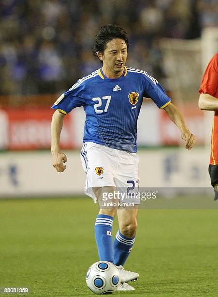 Hideo Hashimoto of Japan in action during the Kirin Cup Soccer match between Japan and Belgium at the National Stadium on May 31 2009 in Tokyo Japan