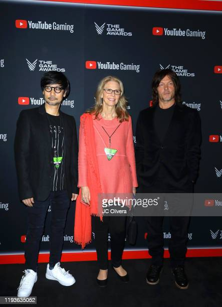 Hideo Kojima Lindsay Wagner and Norman Reedus attend The Game Awards 2019 at Microsoft Theater on December 12 2019 in Los Angeles California