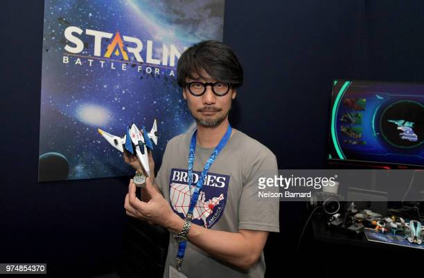 Hideo Kojima playing Starlink Battle for Atlas during E3 2018 at Los Angeles Convention Center on June 14 2018 in Los Angeles California