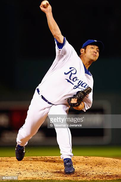 Hideo Nomo of the Kansas City Royals pitches against the New York Yankees on April 10 2008 at Kauffman Stadium in Kansas City Missouri