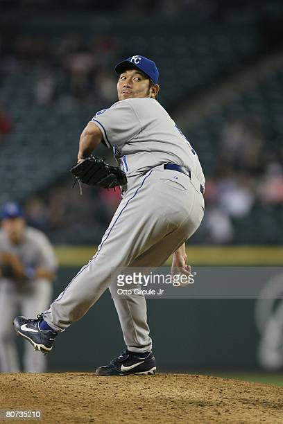 Hideo Nomo of the Kansas City Royals pitches against the Seattle Mariners on April 15 2008 at Safeco Field in Seattle Washington