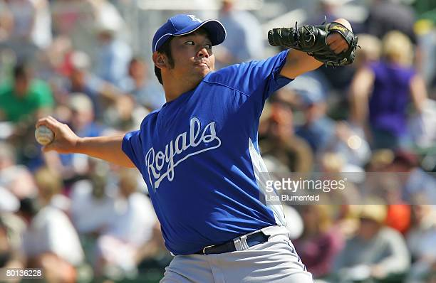Hideo Nomo of the Kansas City Royals pitches during a Spring Training game against the San Francisco Giants at Scottsdale Stadium on March 5 2008 in...