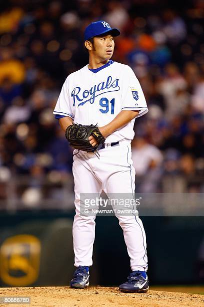 Hideo Nomo of the Kansas City Royals stands on the mound against the New York Yankees on April 10 2008 at Kauffman Stadium in Kansas City Missouri