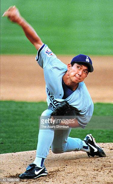 Hideo Nomo of the Los Angeles Dodgers delivers a pitch during the 1995 All Star Weekend on July 10, 1995 at The Ballpark at Arlington in Arlington,...