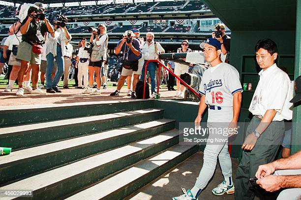Hideo Nomo of the Los Angeles Dodgers during the 1995 All Star Weekend on July 10, 1995 at The Ballpark at Arlington in Arlington, Texas.