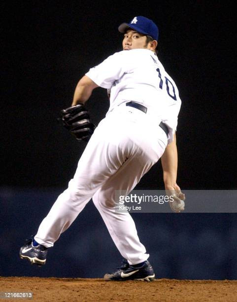 Hideo Nomo of the Los Angeles Dodgers pitches against the San Francisco Giants on Saturday, Sept. 20, 2003 at Dodger Stadium.