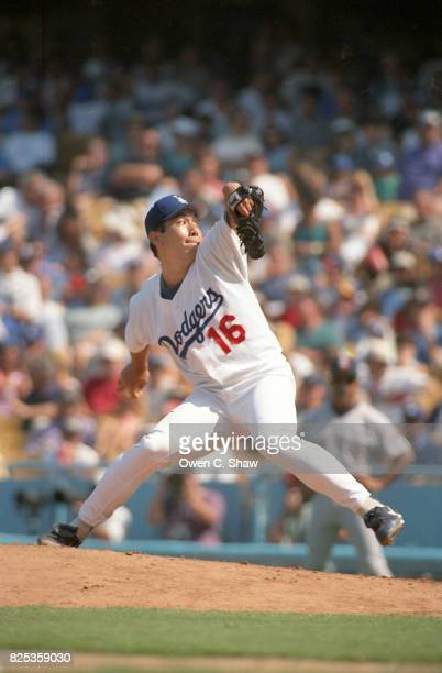 Hideo Nomo of the Los Angeles Dodgers pitches at Dodger Stadium circa 1995 in Los Angeles, California.