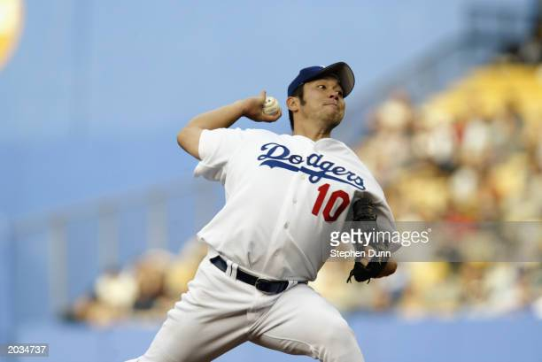 Hideo Nomo of the Los Angeles Dodgers throws a pitch during the game against the San Francisco Giants at Dodger Stadium on April 20, 2003 in Los...