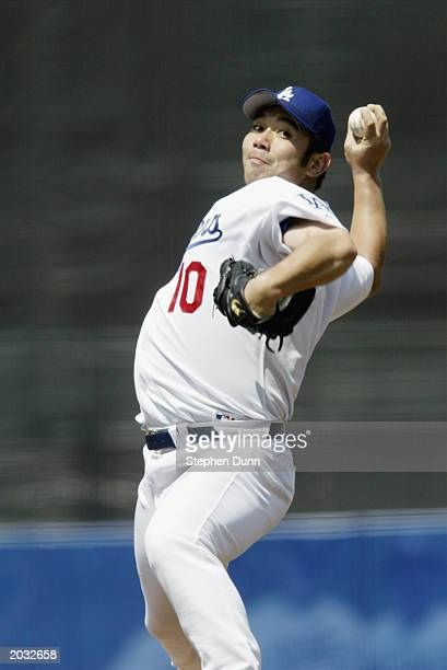Hideo Nomo of the Los Angeles Dodgers throws against of the Florida Marlins on May 18 2003 at Dodger Stadium in Los Angeles California The Dodgers...