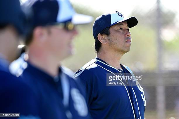 Hideo Nomo of the San Diego Padres participates in a workout at the Peoria Sports Complex on February 26, 2016 in Peoria, Arizona.