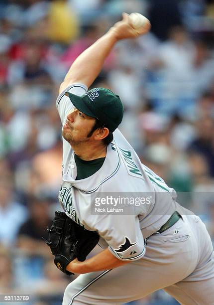 Hideo Nomo of the Tampa Bay Devil Rays pitches against the New York Yankees on June 21 2005 at Yankee Stadium in the Bronx borough of New York City