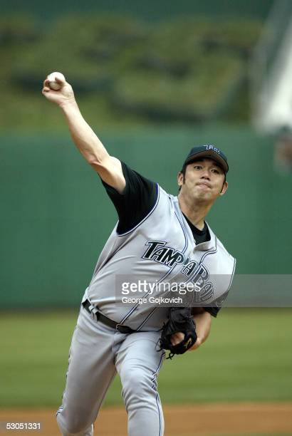Hideo Nomo of the Tampa Bay Devil Rays pitches against the Pittsburgh Pirates during a game at PNC Park on June 10 2005 in Pittsburgh Pennsylvania...