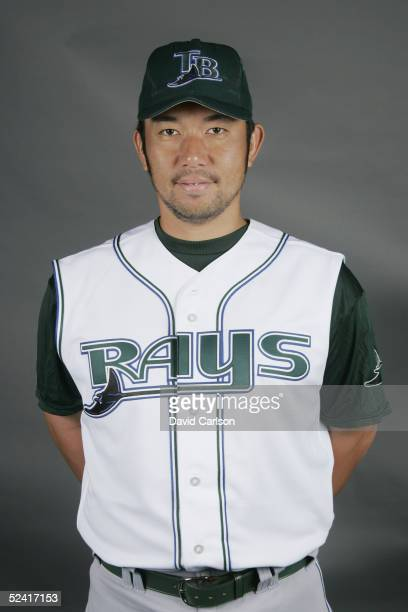 Hideo Nomo of the Tampa Bay Devil Rays poses for a portrait during photo day at Progress Energy Park on March 1 2005 in St Petersburg Florida