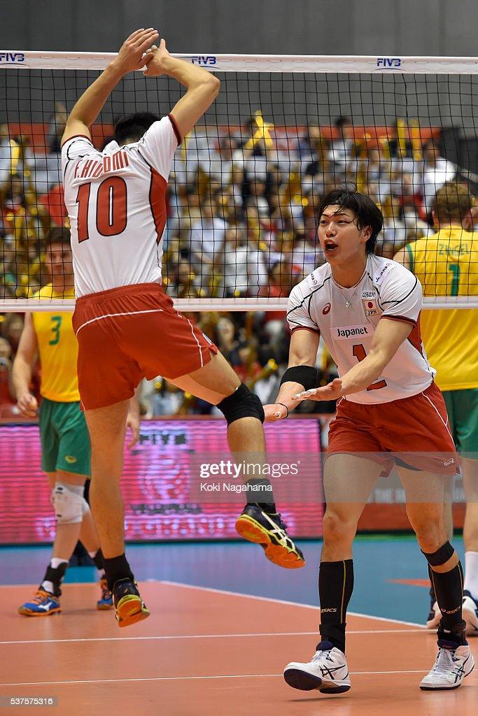 Hideomi Fukatsu #10 and Kunihiro Shimizu #1 of Japan celebrate a point during the Men's World Olympic Qualification game between Australia and Japan at Tokyo Metropolitan Gymnasium on June 2, 2016 in Tokyo, Japan.