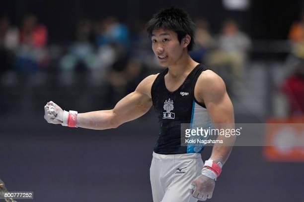 Hidetaka Miyaji celebrates after competing in the Horizontal Bar during Japan National Gymnastics Apparatus Championships at the Takasaki Arena on...