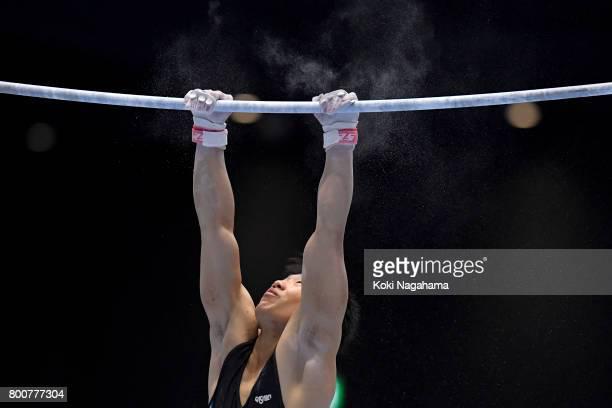 Hidetaka Miyaji competes in the Horizontal Bar during Japan National Gymnastics Apparatus Championships at the Takasaki Arena on June 25 2017 in...