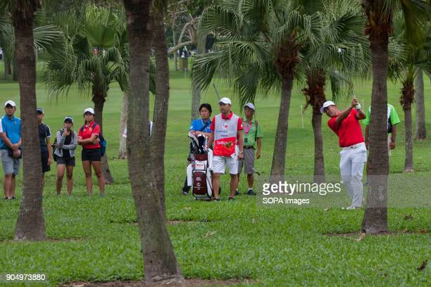 Hideto Tanihara is having a hard challenge through the trees on the last day at EurAsia Cup 2018 EurAsia Cup is a biennial men professional team golf...