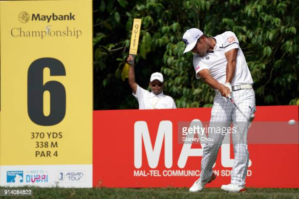 Hideto Tanihara of Japan in action during day four of the Maybank Championship Malaysia at Saujana Golf and Country Club on February 4 2018 in Kuala...