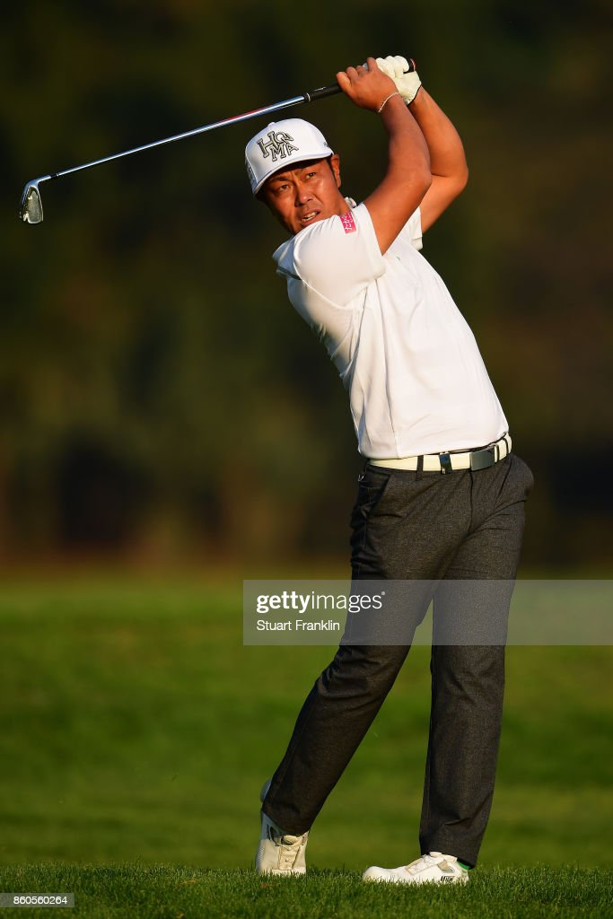 Hideto Tanihara of Japan plays a shot on Day One of the Italian Open at Golf Club Milano - Parco Reale di Monza on October 12, 2017 in Monza, Italy.