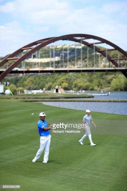 Hideto Tanihara of Japan plays a shot on the 13th hole of his match during round one of the World Golf ChampionshipsDell Technologies Match Play at...