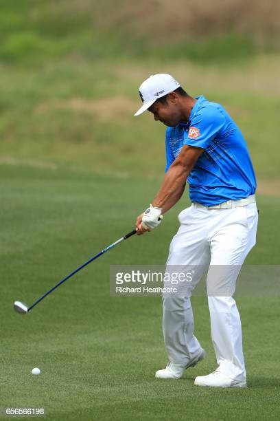 Hideto Tanihara of Japan plays a shot on the 15th hole of his match during round one of the World Golf ChampionshipsDell Technologies Match Play at...
