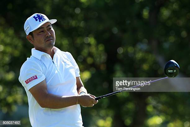 Hideto Tanihara of Japan plays his shot from the first tee during the first round of the Sony Open In Hawaii at Waialae Country Club on January 14...