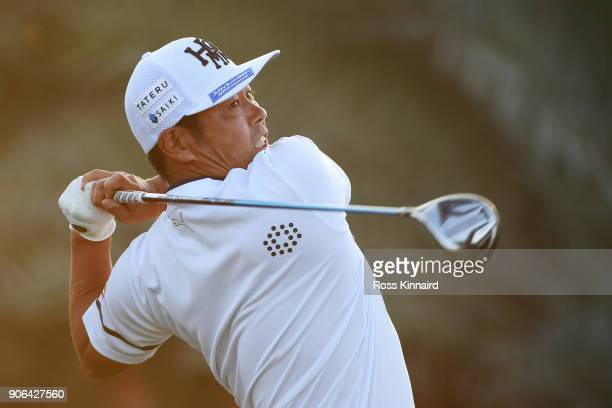 Hideto Tanihara of Japan plays his shot from the ninth tee during round one of the Abu Dhabi HSBC Golf Championship at Abu Dhabi Golf Club on January...