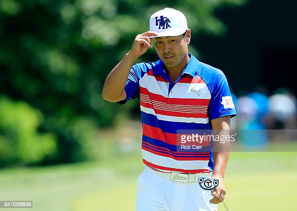 Hideto Tanihara of Japan reacts on the 16th green during the continuation of the second round of the US Open at Oakmont Country Club on June 18 2016...