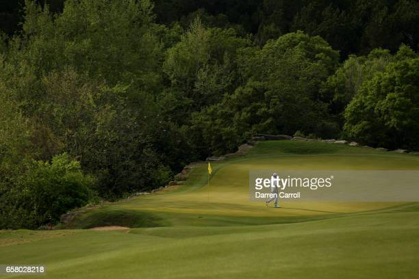 Hideto Tanihara of Japan stands on the 2nd hole of his match during the semifinals of the World Golf ChampionshipsDell Technologies Match Play at the...