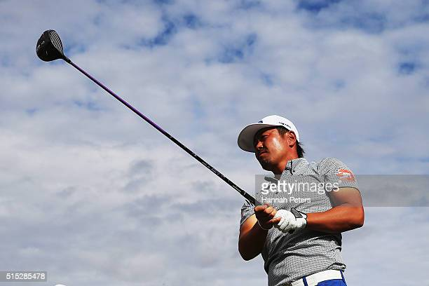 Hideto Tanihara of Japan tees off on during day four of the 2016 New Zealand Open at The Hills on March 13 2016 in Queenstown New Zealand