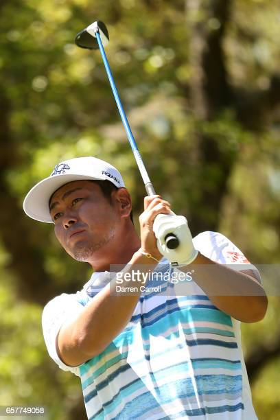 Hideto Tanihara of Japan tees off on the 10th hole of his match during round five of the World Golf ChampionshipsDell Technologies Match Play at the...