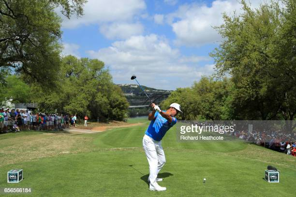 Hideto Tanihara of Japan tees off on the 12th hole of his match during round one of the World Golf ChampionshipsDell Technologies Match Play at the...