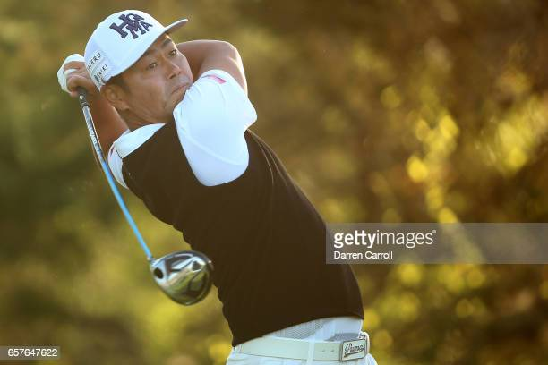 Hideto Tanihara of Japan tees off on the 2nd hole of his match during round four of the World Golf ChampionshipsDell Technologies Match Play at the...