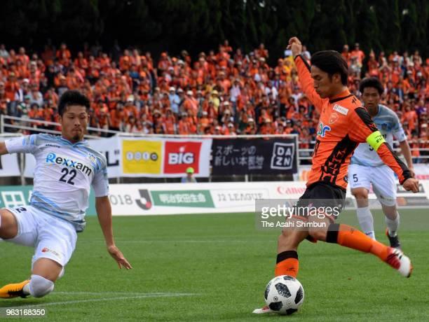 Hidetoshi Miyuki of Renofa Yamaguchi scores the opening goal during the JLeague J2 match between Renofa Yamaguchi and Kamatamare Sanuki at...