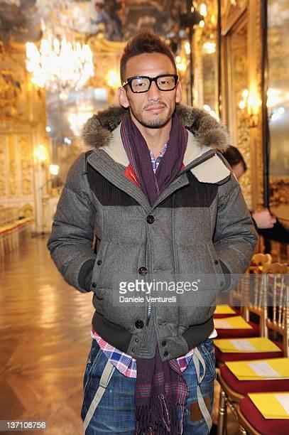 Hidetoshi Nakata attends the Moncler Gamme Bleu fashion show as part of Milan Fashion Week Menswear Autumn/Winter 2011 on January 15 2012 in Milan...
