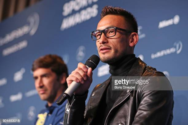 Hidetoshi Nakata is interviewed prior to the 2018 Laureus World Sports Awards at Le Meridien Beach Plaza Hotel on February 26 2018 in Monaco Monaco
