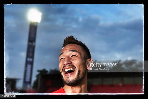 Hidetoshi Nakata is seen after a training session for the Global Legends Series at the SCG Stadium on December 4 2014 in Bangkok Thailand