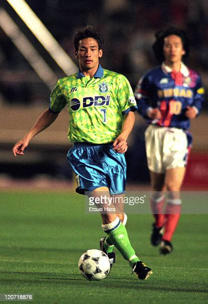 Hidetoshi Nakata of Bellmare Hiratsuka in action during the JLeague match between Bellmare Hiratsuka and Yokohama Marinos at the National Stadium on...