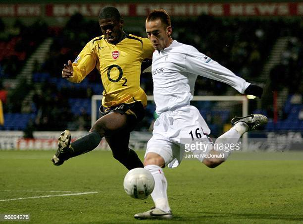 Hidetoshi Nakata of Bolton battles with Kerrea Gilbert of Arsenal during the FA Cup Fourth Round match between Bolton Wanderers and Arsenal at the...