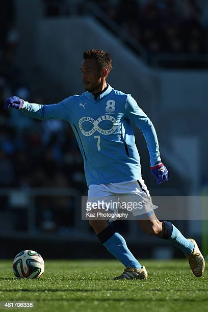 Hidetoshi Nakata of J Amigos dribble s the ball during the Daisuke Oku Memorial Match between J Amigos and Yokohama Friends at Yamaha Stadium on...