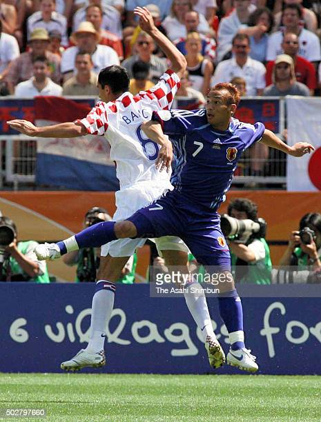 Hidetoshi Nakata of Japan and Marko Babic of Croatia compete for the ball during the FIFA World Cup Germany 2006 Group F match between Japan and...