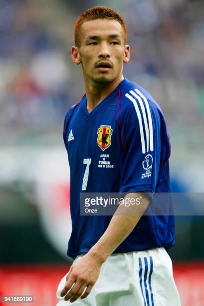 Hidetoshi Nakata of Japan during the World Cup match between Tunisia and Japan on 14th June 2002 at Nagai Stadium Osaka Japan