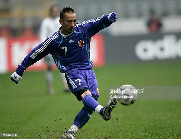 Hidetoshi Nakata of Japan shoots the ball during the international friendly match between Japan and Bosnia Herzegovina at the Signal Iduna Park on...