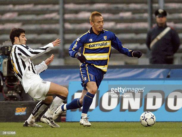 Hidetoshi Nakata of Parma in action during the Juventus v Parma Serie A match played at the Delle Alpi Stadium December 14 2003 in Turin Italy
