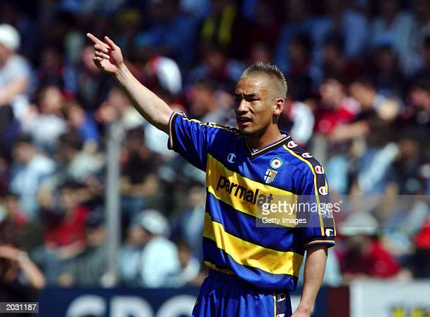 Hidetoshi Nakata of Parma in action during the Serie A match between Parma and Bologna, played on May 3, 2003 at the Ennio Tardini Stadium, Parma,...