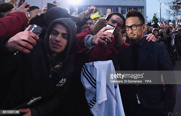 Hidetoshi Nakata poses with fans prior to The Best FIFA Football Awards at TPC Studio on January 9 2017 in Zurich Switzerland