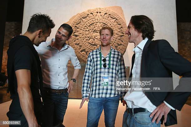 Hidetoshi Nakata smiles with Fernando Hierro Alexis Lalas and Alexei Smertin as they visit the National Museum of Anthropolgy with the FIFA Legends...