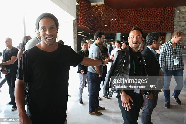 Hidetoshi Nakata smiles with Ronaldinho as they visit the National Museum of Anthropolgy with the FIFA Legends ahead of the 66th FIFA Congress on May...